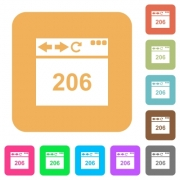 Browser 206 Partial Content flat icons on rounded square vivid color backgrounds. - Browser 206 Partial Content rounded square flat icons