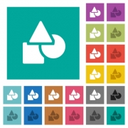 Basic geometric shapes multi colored flat icons on plain square backgrounds. Included white and darker icon variations for hover or active effects. - Basic geometric shapes square flat multi colored icons