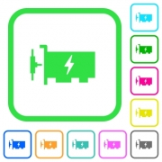 Fast ethernet network controller vivid colored flat icons in curved borders on white background - Fast ethernet network controller vivid colored flat icons