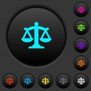 Scale of law dark push buttons with vivid color icons on dark grey background - Scale of law dark push buttons with color icons