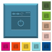Close browser page engraved icons on edged square buttons in various trendy colors