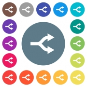 Split arrows flat white icons on round color backgrounds. 17 background color variations are included. - Split arrows flat white icons on round color backgrounds