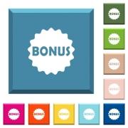 Bonus sticker white icons on edged square buttons in various trendy colors - Bonus sticker white icons on edged square buttons