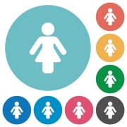 Female sign flat white icons on round color backgrounds - Female sign flat round icons