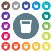 Drink flat white icons on round color backgrounds. 17 background color variations are included. - Drink flat white icons on round color backgrounds