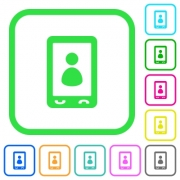 Mobile user profile vivid colored flat icons in curved borders on white background - Mobile user profile vivid colored flat icons