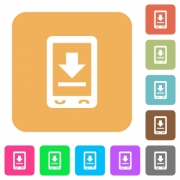 Mobile download flat icons on rounded square vivid color backgrounds. - Mobile download rounded square flat icons