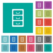 Archive file cabinet multi colored flat icons on plain square backgrounds. Included white and darker icon variations for hover or active effects. - Archive file cabinet square flat multi colored icons