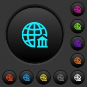 Internet banking dark push buttons with vivid color icons on dark grey background - Internet banking dark push buttons with color icons