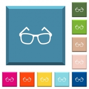 Eyeglasses white icons on edged square buttons in various trendy colors - Eyeglasses white icons on edged square buttons