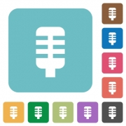 Microphone white flat icons on color rounded square backgrounds - Microphone rounded square flat icons