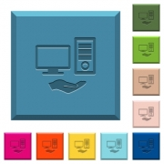 Shared computer engraved icons on edged square buttons in various trendy colors - Shared computer engraved icons on edged square buttons