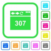 Browser 307 temporary redirect vivid colored flat icons in curved borders on white background - Browser 307 temporary redirect vivid colored flat icons