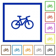 Bicycle flat color icons in square frames on white background - Bicycle flat framed icons