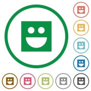 Smiley flat color icons in round outlines on white background