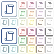 Blank paper scroll color flat icons in rounded square frames. Thin and thick versions included. - Blank paper scroll outlined flat color icons