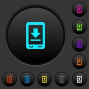 Mobile download dark push buttons with vivid color icons on dark grey background - Mobile download dark push buttons with color icons
