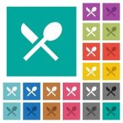 Dining multi colored flat icons on plain square backgrounds. Included white and darker icon variations for hover or active effects. - Dining square flat multi colored icons