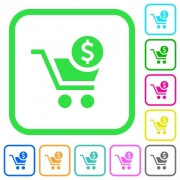 Checkout with Dollar cart vivid colored flat icons in curved borders on white background - Checkout with Dollar cart vivid colored flat icons