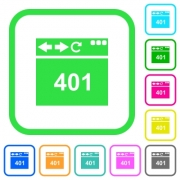 Browser 401 Unauthorized vivid colored flat icons in curved borders on white background - Browser 401 Unauthorized vivid colored flat icons