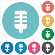Microphone flat white icons on round color backgrounds - Microphone flat round icons