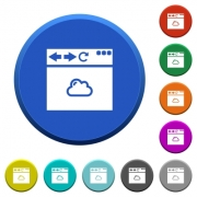 Browser cloud round color beveled buttons with smooth surfaces and flat white icons - Browser cloud beveled buttons