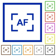 Camera autofocus mode flat color icons in square frames on white background - Camera autofocus mode flat framed icons