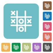 Tic tac toe game white flat icons on color rounded square backgrounds - Tic tac toe game rounded square flat icons