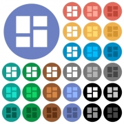 Admin dashboard panels multi colored flat icons on round backgrounds. Included white, light and dark icon variations for hover and active status effects, and bonus shades on black backgounds. - Admin dashboard panels round flat multi colored icons