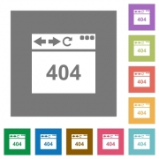 Browser 404 page not found flat icons on simple color square backgrounds - Browser 404 page not found square flat icons