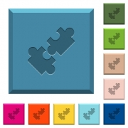 Cooperation engraved icons on edged square buttons in various trendy colors - Cooperation engraved icons on edged square buttons