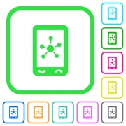 Mobile social networking vivid colored flat icons in curved borders on white background - Mobile social networking vivid colored flat icons