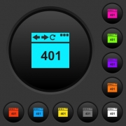 Browser 401 Unauthorized dark push buttons with vivid color icons on dark grey background - Browser 401 Unauthorized dark push buttons with color icons