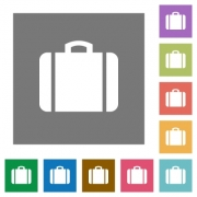 Suitcase flat icons on simple color square backgrounds - Suitcase square flat icons