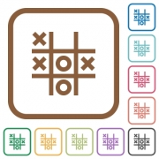 Tic tac toe game simple icons in color rounded square frames on white background - Tic tac toe game simple icons