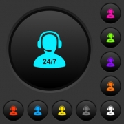 24 hours operator service dark push buttons with vivid color icons on dark grey background - 24 hours operator service dark push buttons with color icons
