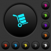 Hand truck with boxes dark push buttons with vivid color icons on dark grey background - Hand truck with boxes dark push buttons with color icons