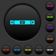 Horizontal scroll bar dark push buttons with vivid color icons on dark grey background - Horizontal scroll bar dark push buttons with color icons