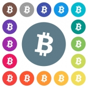 Bitcoin digital cryptocurrency flat white icons on round color backgrounds. 17 background color variations are included. - Bitcoin digital cryptocurrency flat white icons on round color backgrounds