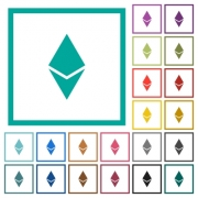 Ethereum digital cryptocurrency flat color icons with quadrant frames on white background - Ethereum digital cryptocurrency flat color icons with quadrant frames