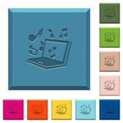 Laptop with music symbols engraved icons on edged square buttons in various trendy colors - Laptop with music symbols engraved icons on edged square buttons