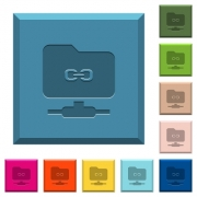 FTP link engraved icons on edged square buttons in various trendy colors - FTP link engraved icons on edged square buttons