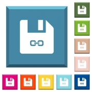 Symbolic link file white icons on edged square buttons in various trendy colors - Symbolic link file white icons on edged square buttons
