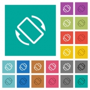 Mobile screen automatic rotation multi colored flat icons on plain square backgrounds. Included white and darker icon variations for hover or active effects. - Mobile screen automatic rotation square flat multi colored icons