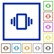Smartphone vibration flat color icons in square frames on white background - Smartphone vibration flat framed icons