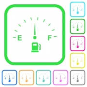 Fuel gauge vivid colored flat icons in curved borders on white background - Fuel gauge vivid colored flat icons