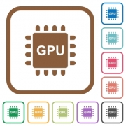Graphics processing unit simple icons in color rounded square frames on white background - Graphics processing unit simple icons