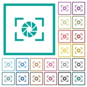 Camera aperture setting flat color icons with quadrant frames on white background - Camera aperture setting flat color icons with quadrant frames
