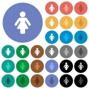 Female sign multi colored flat icons on round backgrounds. Included white, light and dark icon variations for hover and active status effects, and bonus shades on black backgounds. - Female sign round flat multi colored icons