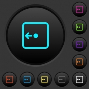Move object left dark push buttons with vivid color icons on dark grey background